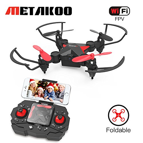 Metakoo Mini Drone with Camera Live Video WiFi FPV, M2 Foldable Pocket Quadcopter Nano RC Drone for Beginners with Altitude Hold,