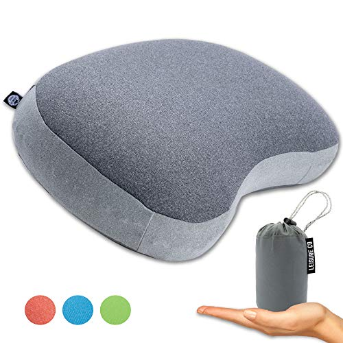Leisure Co Ultralight Inflatable Camping Pillow - Soft Jersey Cotton with Lofted Cushion Layer for Comfort - Compressible and Easy To Inflate Air Pillows - Perfect for Camp Trips, Hiking, Backpacking]()