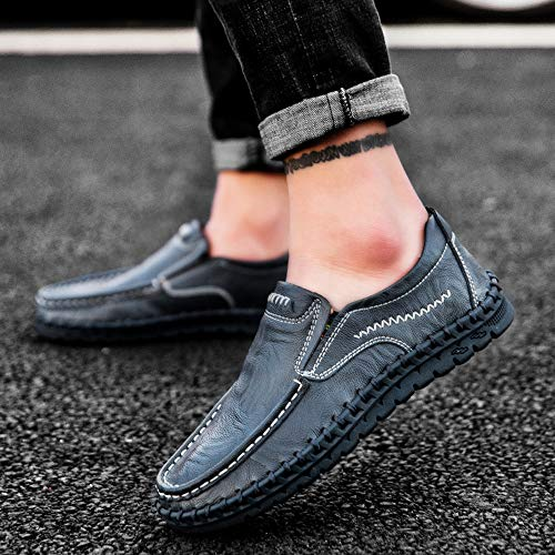 Pictures of VILOCY Men's Leather Slip On Loafers 3358*19 Blue 4