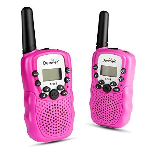 Denmer Two-Way Radios Mini Walkie Talkie 3-5KM Range 22-Channel FRS/GMRS UHF Two-Way Radios Colorful Walkie-Talkie For Kids(Pink) (Set Of 4 Walkie Talkies)