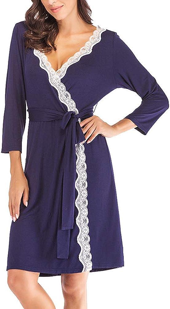 Donna Pigiama Pizzo Colore Solido Manica Lunga Kimono V-Collo Vestaglie