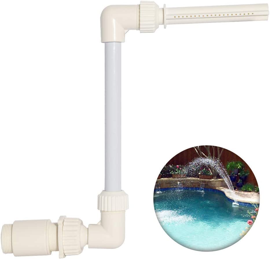 "WaterSHOP Waterfall Pool Fountain Spray Pool Fountain Fits Most 1.5"" InGround & Above Ground Return Jets Adjustable Spray Height and Direction (1.5)"