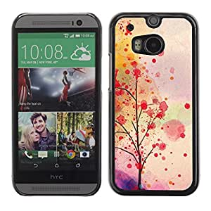 Soft Silicone Rubber Case Hard Cover Protective Accessory Compatible with HTC ONE? M8 2014 - autumn leaves tree romantic