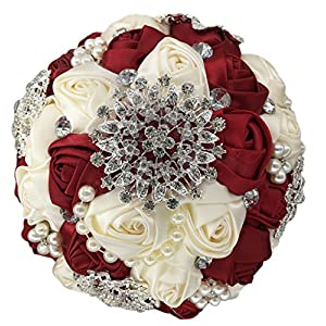 S-SSOY Delicate Handmade Beautiful Pearls & Diamond Roses Bridesmaid Bridal Artificial Bouquets Wedding Hold Bouquet Flower Beautiful Hold-Flower for Elegant Bridal, D453 Wine Red 92