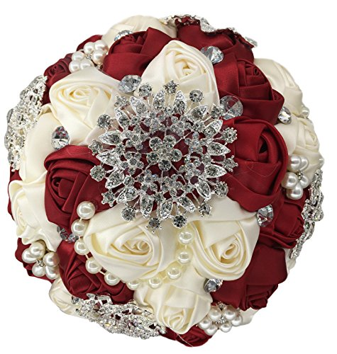 [USIX Handmade Premium Customization Popular Crystal Pearl Satin Rose Brooch Bridal Holding Wedding Bouquet , Cotton Lace Decorated Bouquet, Wedding Flower Arrangements Bridesmaid Bouquet (Burgundy)] (Burgundy Bridal Bouquet)