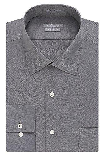 Van Heusen Men's Athletic-Fit Long Sleeve Lux Sateen Dress Shirt (Neck 17 1/2 Sleeve 34/35, Grey) - Van Heusen Pink Dress Shirts