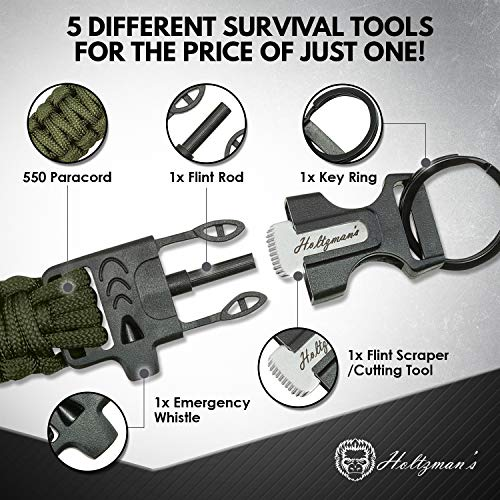 Ultimate 5-in-1 Paracord Keychain with Carabiner for Camping, Fishing, Hunting & Outdoor Emergencies | Multipurpose Survival Tool with Paracord, Emergency Whistle, Flint Rod, Cutting Tool & Key by Holtzman's Gorilla Survival (Image #1)