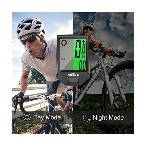 IREGRO Computer da Bicicletta, Grande Display Digitale LCD Contachilometri Bici Impermeabile Computer per Bici, 18… 3 spesavip