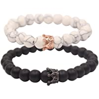 UEUC Distance Couple Bracelet avec CZ Crown King & Queen Noir Mat Agate & White howlite 8 mm Bracelet Perles