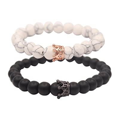 UEUC distance couple bracelet avec CZ Crown King \u0026 Queen noir mat Agate \u0026  White howlite