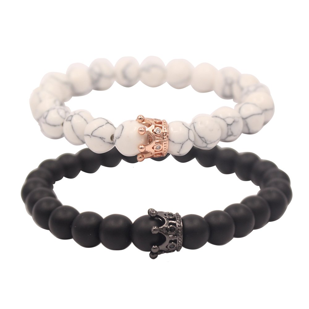 UEUC Distance Couple Bracelets with CZ Crown King&Queen Black&White Howlite 8mm Beads Bracelet
