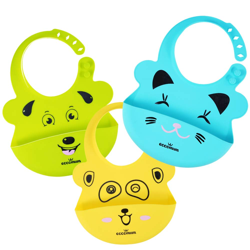 Baby Bibs, Eccomum Silicone Bib for Newborns Infant, 100% Food Grade Silicone-Waterproof Design, BPA-Free, Soft-Durable, Easily Wipes Clean, Cute Designs for Your Baby, Set of 3 Colors