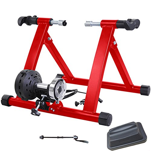 8 Magnetic Varies Levels Resistance Turbo Trainer For Bike w Front Wheel Block Red