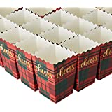 Set of 100 Popcorn Favor Boxes - Christmas 20oz Mini Paper Popcorn and Candy Containers, Holiday Party Supplies for Movie Nights, Birthday, Red and Green Plaid Pattern, 3.3 x 5.5 x 3.3 Inches