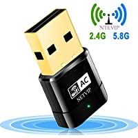 USB WiFi Adapter 600Mbps Wireless Network Card Dual Band 2.4G/5.8G WlAN Card with WPS Button for Desktop/Laptop/PC,Perfect for Windows XP/Vista/7/8/10 Linux 2.6x,Mac OS X