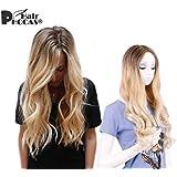 HairPhocas® Fashion Gradient Dark Brown to Bleach Blonde 3-tone Ombre Long Curly Hair Wigs