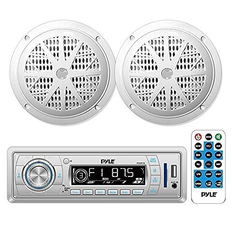 Pyle Marine In-Dash Stereo Receiver & Speaker Kit, Digital AM/FM Radio System, (2) 5.25'' Waterproof Speakers, MP3/USB/SD/AUX, Single DIN (1996 Ford Explorer Radio Harness)