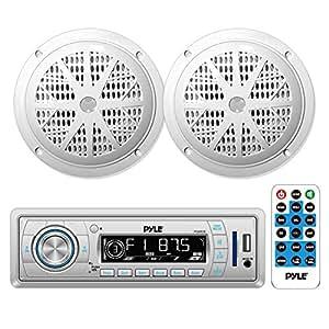 Marine Headunit Receiver Speaker Kit - In-Dash LCD Digital Stereo w/AM FM Radio System 5.25'' Waterproof Cone Speakers (2) MP3/USB/SD Readers Single DIN & Remote Control - Pyle White PLMRKT32WT