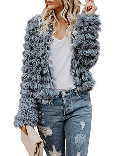 Lovaru Womens Coat Long Sleeve Open Front Parka Shaggy Faux Fur Coat Jacket Parka, Grey, Medium