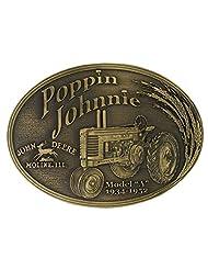 "Montana Silversmiths John Deere Model A Poppin Johnnie Brass Heritage Attitude Belt Buckle - Brass - 3 3/4"" X 2 3/4"""