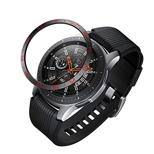 -  Orcbee  _for Samsung Galaxy Watch 42mm Bezel Ring Adhesive Cover Anti Scratch Metal (Red)