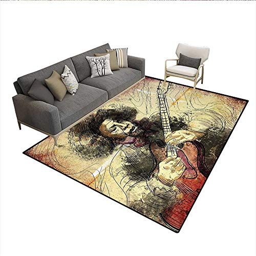 (Carpet,Guitar Virtuoso Hand Drawn Style Illustration of a Guitar Player Musician,Print Area Rug,Brown Beige BlackSize:5'x6')