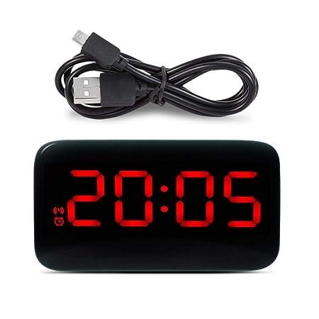 ZMCW Despertador LED Pantalla LED Digital Control de Voz Snooze ...