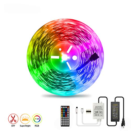 LED Strip Light 15M AveyLum RGB Flexible Rope Lights 5050 SMD 450 LEDs Non Waterproof IP20 55ft Tape Light with 44 Keys Wireless Controller and 24V Power Adapter for Home Kitchen Party TV Deco
