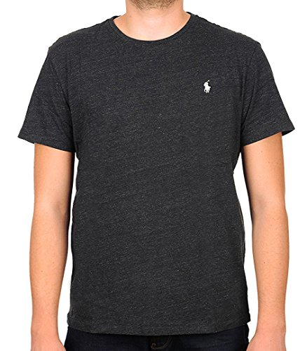 - Polo Ralph Lauren Men's Classic Fit Crew-Neck T-Shirt Cotton (Medium, Black Heather (White Pony))