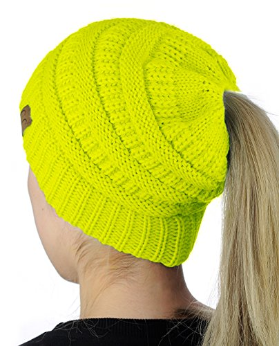 C.C BeanieTail Soft Stretch Cable Knit Messy High Bun Ponytail Beanie Hat, Neon Yellow