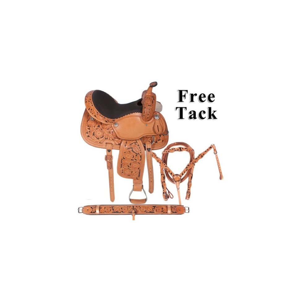 Hand Carved Leather Barrel Racing Saddle On Sale 15 16