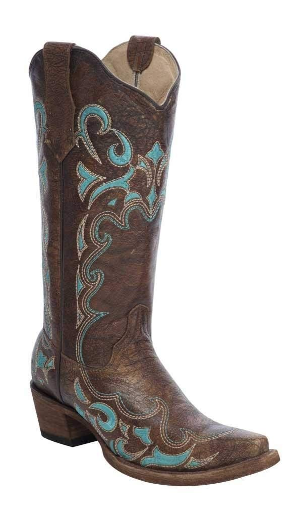 Circle G Women's Embroidered Cowgirl Boot Snip Toe Brown 8.5 M US by Corral Boots