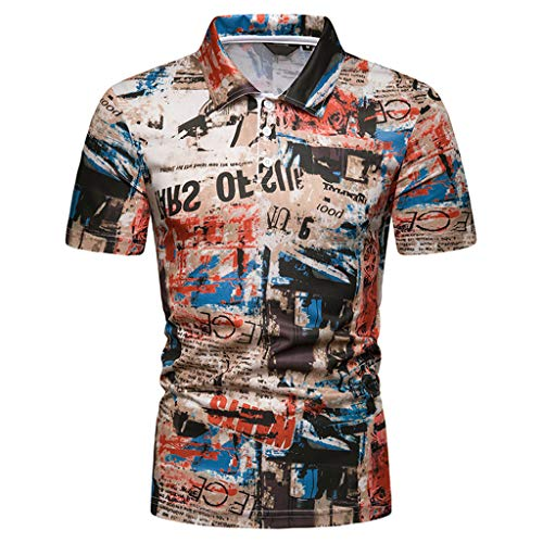 refulgence Men's Cotton Shirts Painting Button Neck Fashion Short Sleeve Large Size Casual Top -