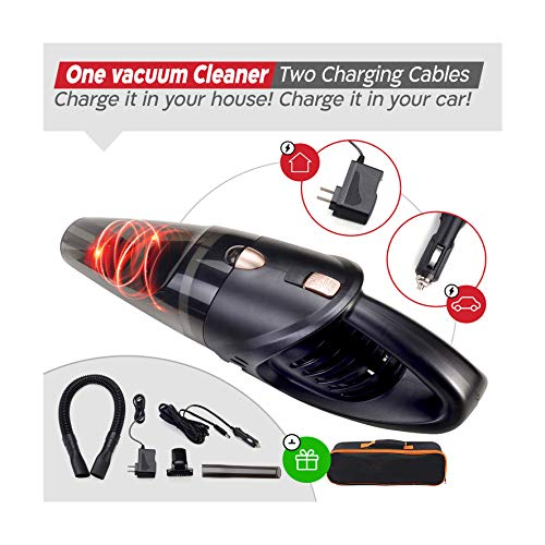 GNG Hand-Held Vacuum Cleaner, 12v Portable Cordless Vacuum with Car & Wall Rechargeable Lithium-ion, Black Detailing Vacuum Cleaners for Wet and Dry Furniture, Dust Buster, Carpets, Floors, Vehicles (Best Vacuum Cleaner For Car Detailing)