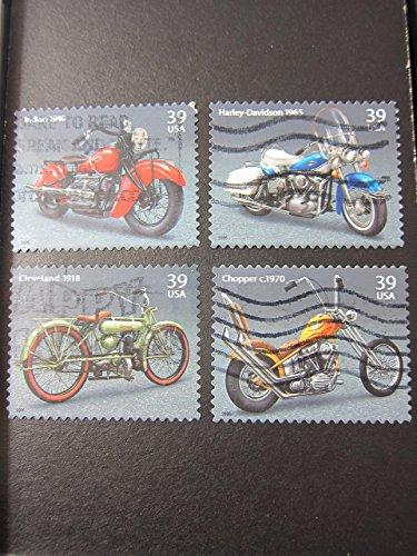 - Motorcycle Harley Framed Postage Stamp Art - 3.5