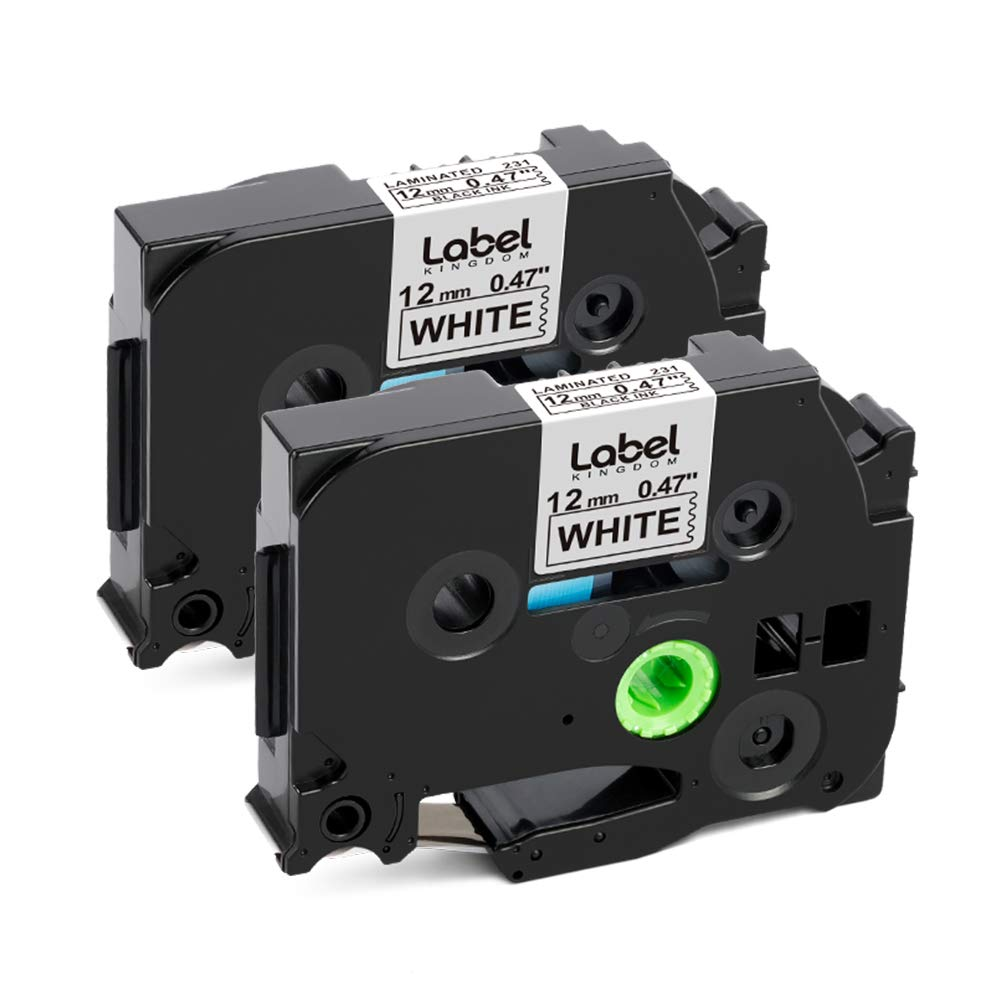 """TZ231 TZe231 Black on White Label Tape for Brother P-Touch PT-D210 12MM 1//2/"""""""