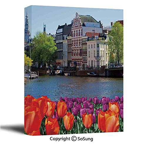 Landscape Canvas Wall Art,European City Holland Amsterdam Scenery of Old Victorian Era Houses Art Print,Giclee Print Gallery Wrap Modern Home Decor Ready to Hang,32x48 inch