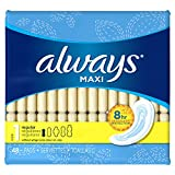 Always Maxi Pads Regular Non-Wing Unscented, 48 Count- Packaging May Vary