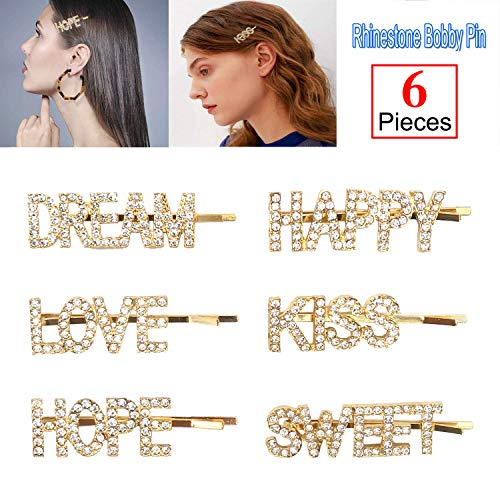 (Onene 6 pieces Rhinestones Letter Bobby Pins, Words Letter Crystal Hair Pins, Metal Hair Clips Hair Barrettes, Sparkly Hair Accessories for Women Ladies Hair Accessories, Gold)