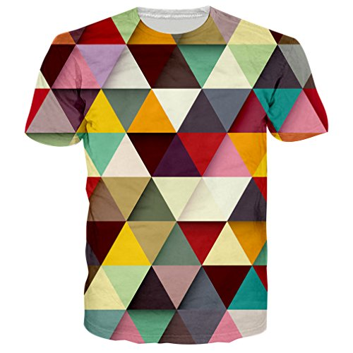 RAISEVERN Unisex Geometric Pattern Printed Short Sleeve Crewneck T-Shirts Tees M