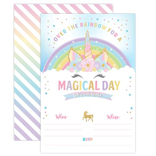 Unicorn Birthday Invitation, Unicorn Horn Party Invite 20 Fill In Style with Envelopes (Party Printed Horns)