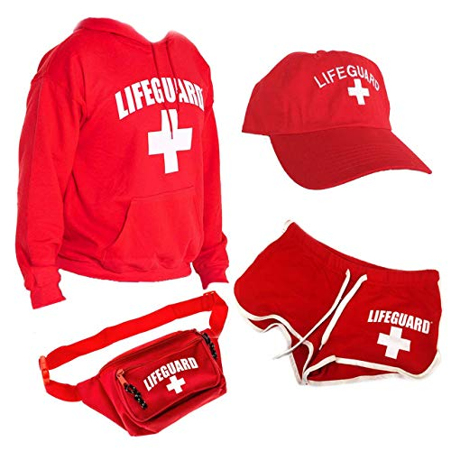 Amazing Womens Halloween Costumes (LIFEGUARD Officially Licensed Women Ladies Halloween Costume Bundle Pack (M))