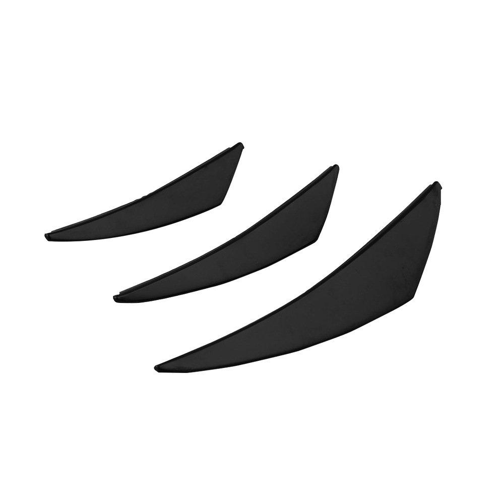 6pcs//Set Black BEESCLOVER Universal Carbon Fiber Front Bumper Body Spoiler Canards Splitter Fins Kit