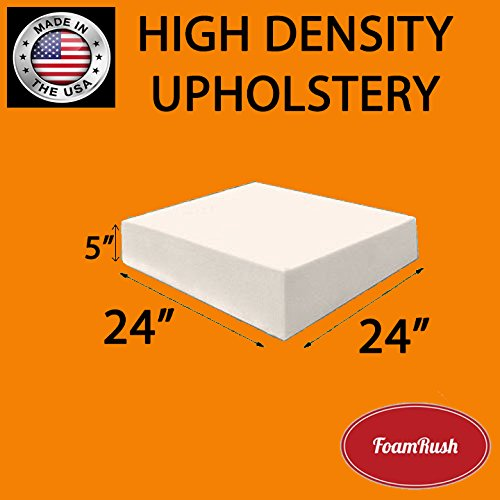FoamRush Upholstery Foam Cushion High Density (Chair Cushion Square Foam for Dinning Chairs, Wheelchair Seat Cushion Replacement)(5