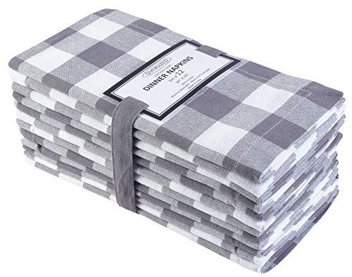 Cloth Napkin in Gingham Plaid Check Fabric-20x20 Gray White, Wedding Napkins,Cocktails Napkins,Fabric Napkins,Cotton Napkins Mitered Corners & Generous Hem, Machine Washable Dinner Napkins Set of 12