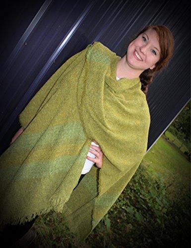Wool Ruana Apple Lime Kerry Woollen Mills Irish Made