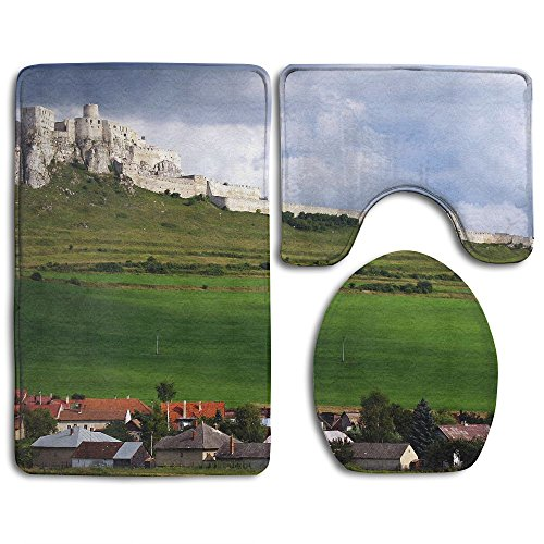 Architecture Building House Slovakia Hills Castle Village Field Grass Ancient Clouds Ruin Trees Home Set Of 3 Soft Bath Rug Non-slip Bathroom Shower Mat