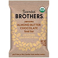 Bearded Brothers Vegan Organic Food Bar | Gluten Free, Paleo and Whole 30 | Soy Free, Non GMO, Low Glycemic, No Sugar Added, Packed with Protein, Fiber, Whole Foods | Almond Butter Chocolate | 12 Pack