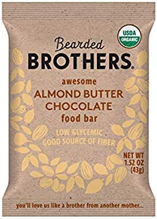 product image for Bearded Brothers Vegan Organic Food Bar | Gluten Free, Paleo and Whole 30 | Soy Free, Non GMO, Low Glycemic, No Sugar Added, Packed with Protein, Fiber, Whole Foods | Almond Butter Chocolate | 5 Pack