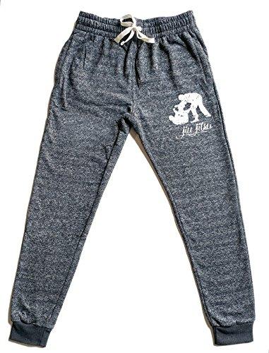 Men's MMA Jiu Jitsu Emblem Graphic Snow Fleece Jogger Sweatpants Medium (Jiu Jitsu Mens Hoodie)